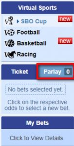 Menu parlay Virtual Sports
