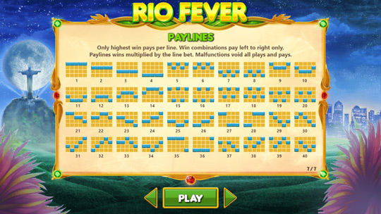 Rio Fever Paylines Sbobet