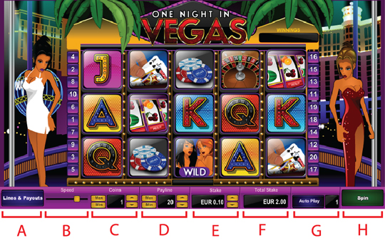Tombol Navigasi One Night in Vegas Slot